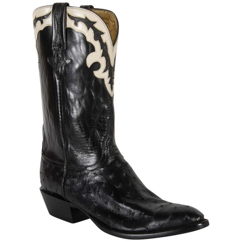 Lucchese Mens Black Pin Buffalo Gold Goat Lining Cowboy Boots