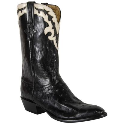 Lucchese Mens Black Pin Buffalo Gold Goat Lining Cowboy Boots