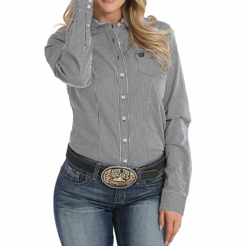 Cinch Womens Black Stripe Long Sleeve Button Down Shirt