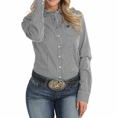 Cinch Womens Black Stripe Long Sleeve Button Down Shirt