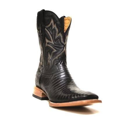 Stetson Mens Black Teju Lizard Cowboy Boots
