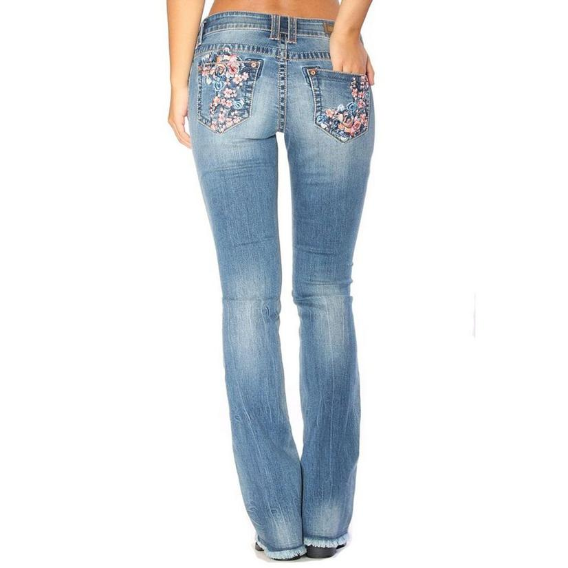 Grace In La Womens Pink Chambray Floral Embroidered Jean