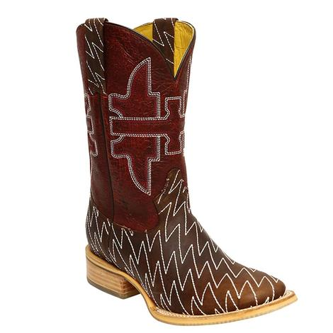 Tin Haul Mens Lightning Brown and Red Cowboy Boots