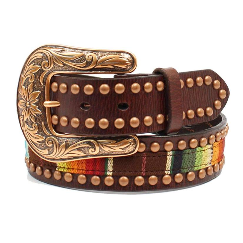 Ariat Womens Leather Serape Copper Studs Belt