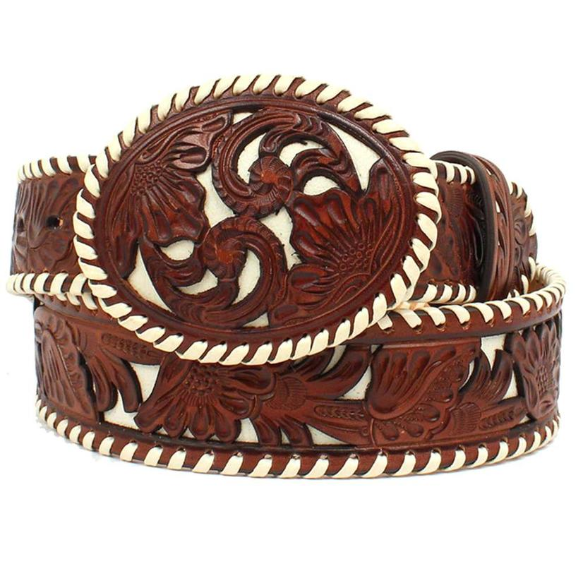 Nocona Womens Underlay Lace Edge Floral Overlay Western Belt