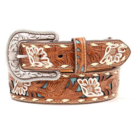 Nocona Womens Turquoise Backed Tooled Western Belt