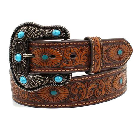 Nocona Womens Brown Leather Oval Embossed Turquoise Painted Belt