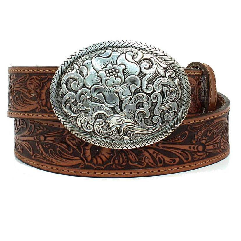 Nocona Womens Western Floral Oval Buckle Belt