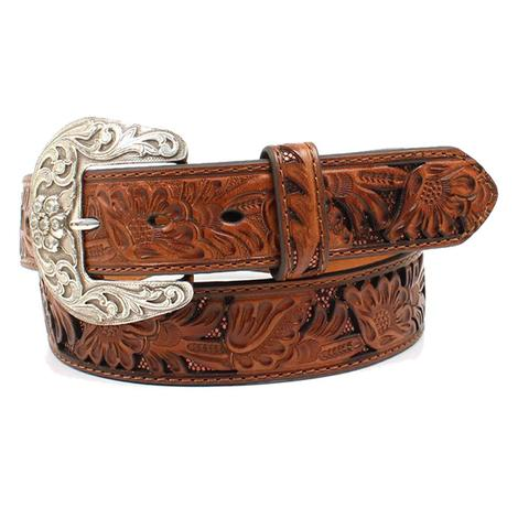 Nocona Womens Genuine Leather Embossed Floral Belt