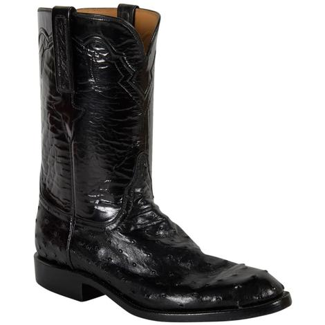Lucchese Classics Mens Black Goat Ostrich Cowboy Boots