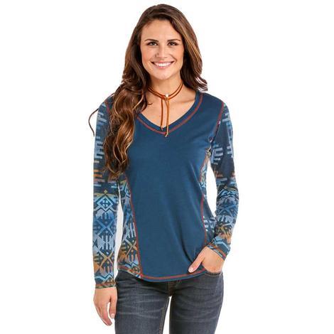 Panhandle Slim Womens Blue Aztec Long Sleeve Top