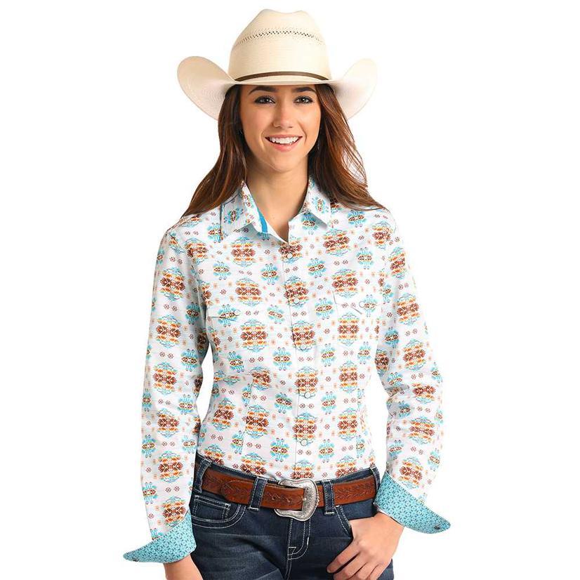Panhandle Slim Womens White Aztec Snap Long Sleeve Shirt