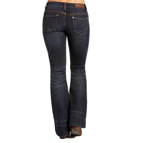 Rock & Roll Cowgirl Womens Dark Wash Brown Stitch Trouser