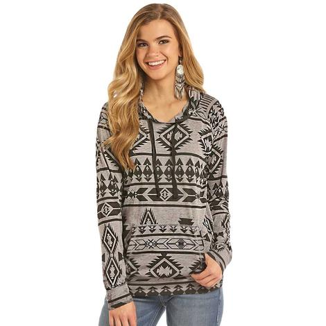 Rock & Roll Cowgirl Womens Jersey Hoodie with Aztec Print Shirt