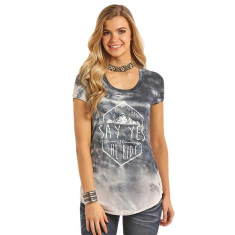 Rock & Roll Cowgirl Womens Dip Dye Say Yes Tee