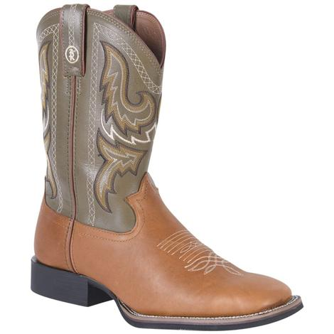 Tony Lama Mens Tan Western Square Toe Cowboy Boots