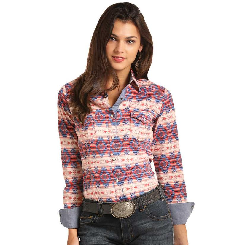 Rock & Roll Cowgirl Aztec Pink & Blue Snap Long Sleeve Shirt