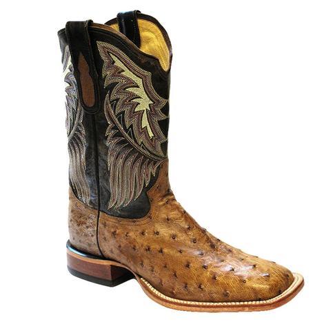 Tony Lama Mens Black Label Tan Vintage Ostrich Cowboy Boots