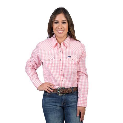 Wrangler Womens Pink White Gingham Snap Long Sleeve Shirt