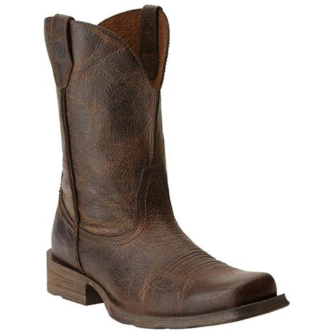 Ariat Mens Rambler Brown Wicker Distressed Leather Cowboy Boots