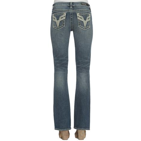 Vigoss Womens Chelsea Dark Boot Cut Jeans