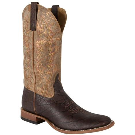 Horse Power Mens Western Boot with Chocolate Elephant Print Vamp