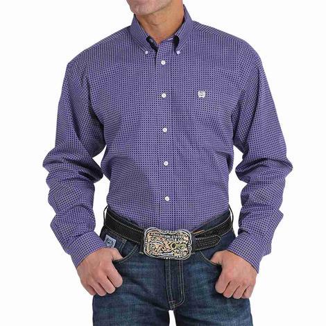 Cinch Mens Purple Square & Circle Geometric Print Western Shirt