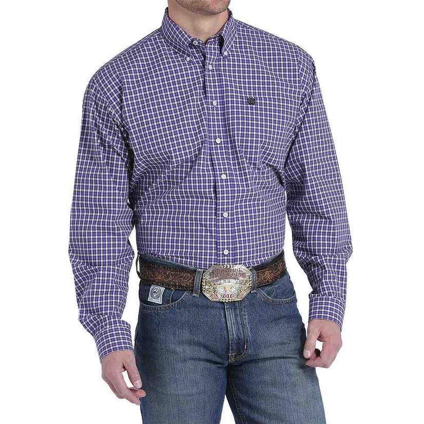 Cinch Mens Long Sleeve Purple Plaid Western Shirt