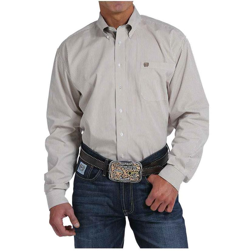 Cinch Mens Tan Stripe Button Up Western Shirt