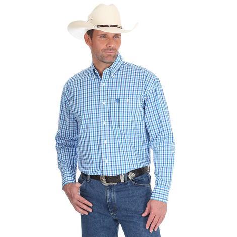 George Strait by Wrangler Mens Blue & White Checker Print Western Shirt