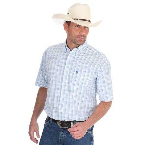 George Staight Collection By Wrangler Black & White Plaid Western Shirt