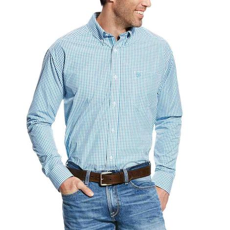 Ariat Mens Long Sleeve Crowley Blue/White Plaid Western Shirt