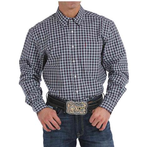 Cinch Mens Navy Plaid Modern Fit Button Down Western Shirt