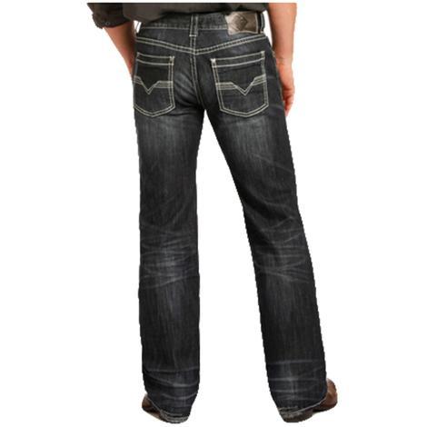 Rock & Roll Cowboy Mens Dark Vintage Reflex Pistol Jeans