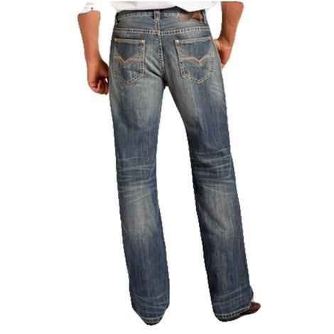 Rock & Roll Cowboy Mens Double Barrel Straight Flat Seam Western Jean