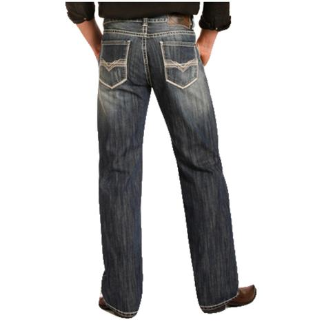 Rock & Roll Cowboy Mens Double Barrel Straight Zig Zag Stitch Jean