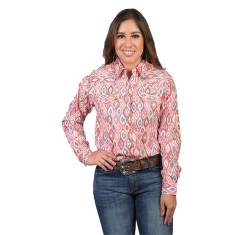 Wrangler Womens Aztec Poplin Snap Long Sleeve Shirt