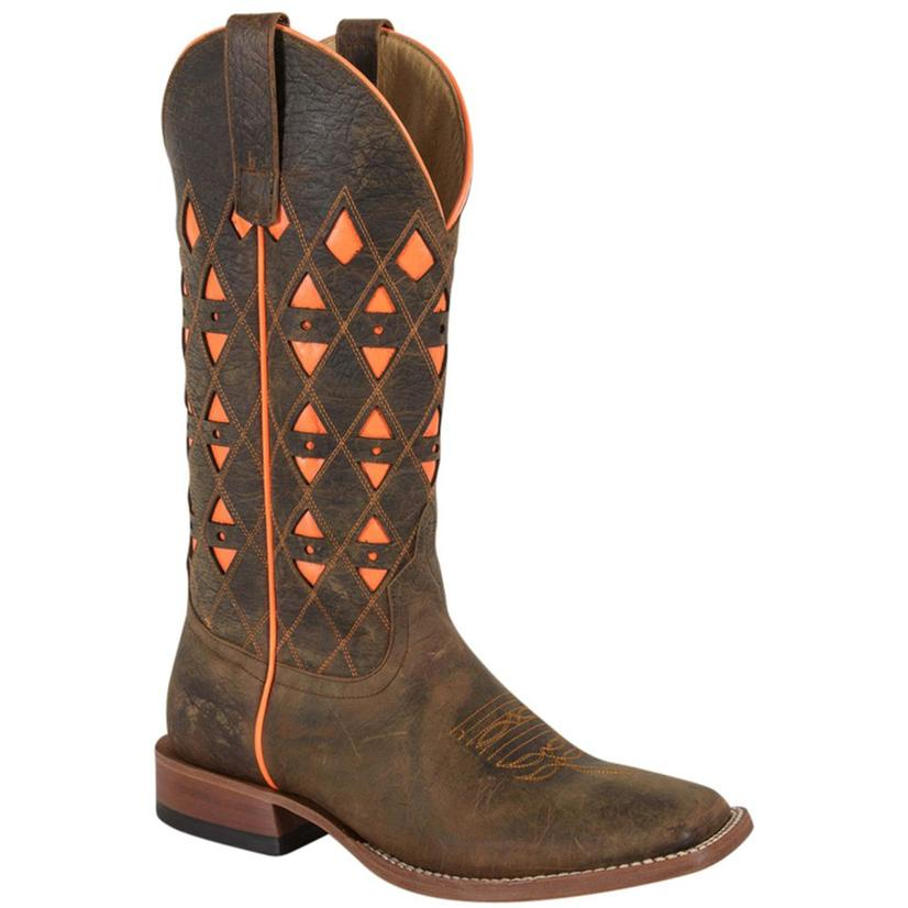 Horse Power Mens Neon Orange Bison Cowboy Boot