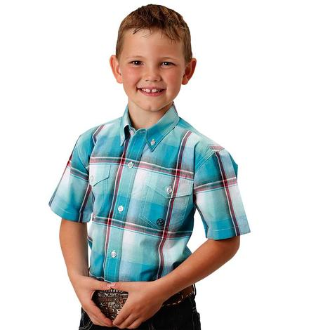 Roper Boys Blue Plaid Double Pocket Button Down Shirt