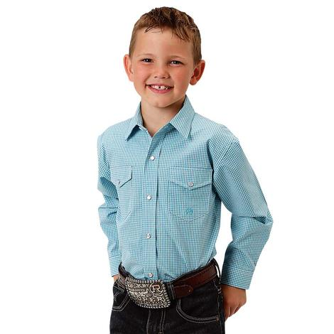 Roper Kids Blue Gingham Snap Long Sleeve Shirt