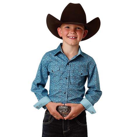 Roper Blue Print Long Sleeve Snap Shirt