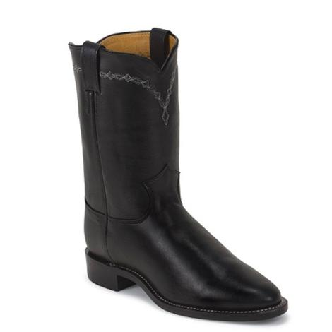 Justin Mens Domestic Roper Black Chester Round Toe Boots