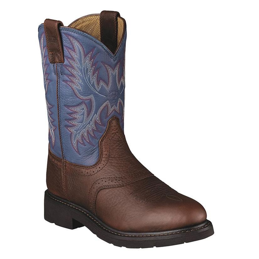 Ariat Mens Sierra Saddle Western Blue Indigo Work Boots