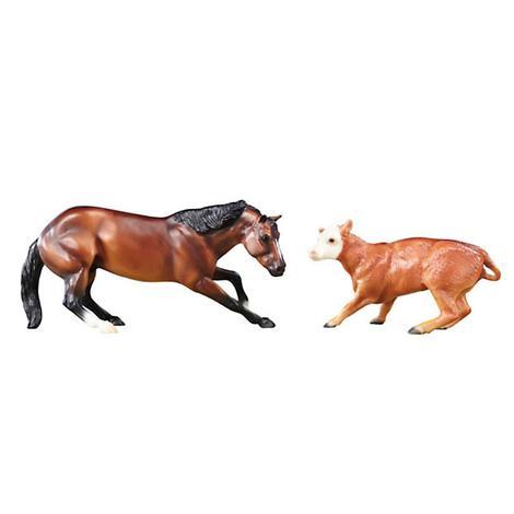 Breyer Classics Cutting Horse & Calf 1:12 Scale