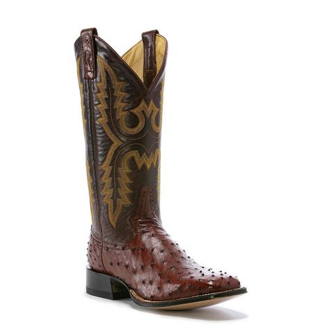 Rod Patrick Mens Almond Full Quill Ostrich Cowboy Boot
