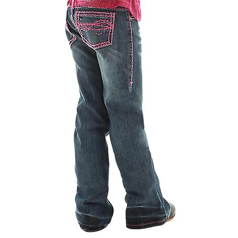 Cowgirl Tuff Girls Don't Fence Me In Pink Stitch Jeans