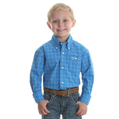 Wrangler Boys Blue & White Plaid Long Sleeve Button Down Shirt