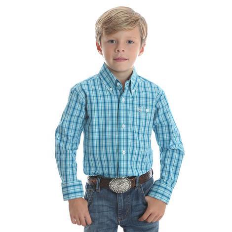 Wrangler Boys Teal Plaid Long Sleeve Button Down Shirt