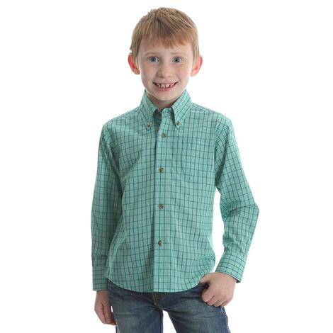 Wrangler Assorted Color Plaid Long Sleeve Boys Shirt