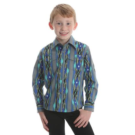 Wrangler Boys Blue Green Striped Diamond Long Sleeve 2 Packet Shirt